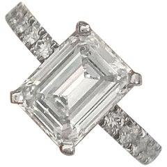 Emerald Cut Diamond Engagement Ring E VS2 Set in Platinum Diamonds Down Shank