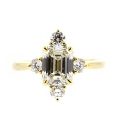 Emerald Cut Diamond Engagement Ring in Yellow Gold 'GIA'