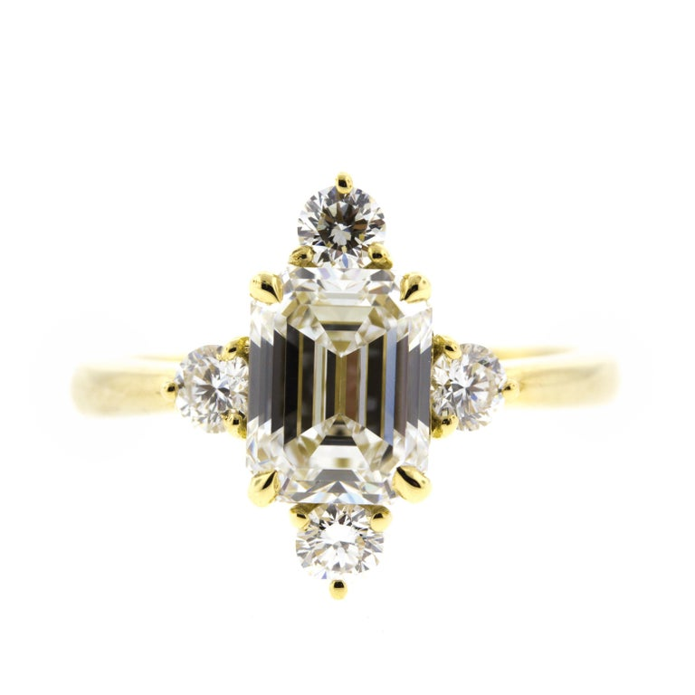 Emerald Cut Diamond Engagement Ring in Yellow Gold 'GIA' For Sale