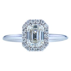 Emerald Cut Diamond Engagement Ring with Classic Diamond Halo