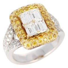 Emerald-Cut Diamond Engagement Ring with Pave Yellow Diamonds and White Diamonds