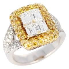 Emerald-Cut Diamond Engagement Ring with Pave Yellow Diamonds and White Diamonds