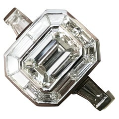 Emerald Cut Diamond Engagement with Trapezoid Halo, Vintage Look, 2.1 Carat