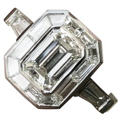 Emerald Cut Diamond Engagement with Trapezoid Halo, Vintage Look, 2.8 Carat