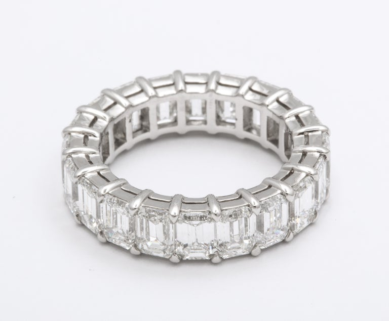 A timeless band.  5.93 carats of white VS+ emerald cut diamonds set in a custom 18k white gold band.  Size 6