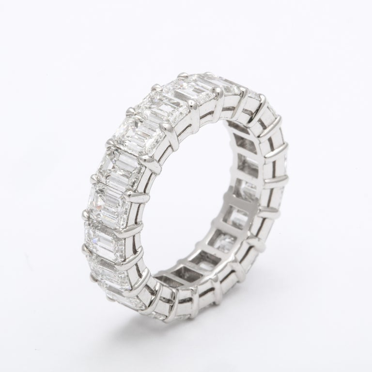 Emerald Cut Diamond Eternity Band In New Condition For Sale In New York, NY