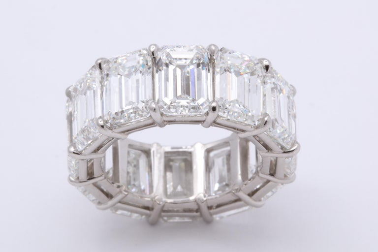 An EXCEPTIONAL piece, only found in the worlds highest jewelry houses.   Important emerald cut diamond eternity band featuring 12 Emerald Cut diamonds each with its own GIA certificate. The 12 diamonds make up a total of 18.51 carats. Each of the