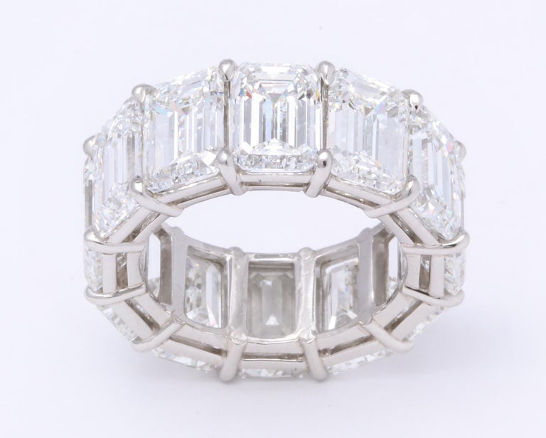 Women's Emerald Cut Diamond Eternity Band GIA Certified 18.51 Carat For Sale
