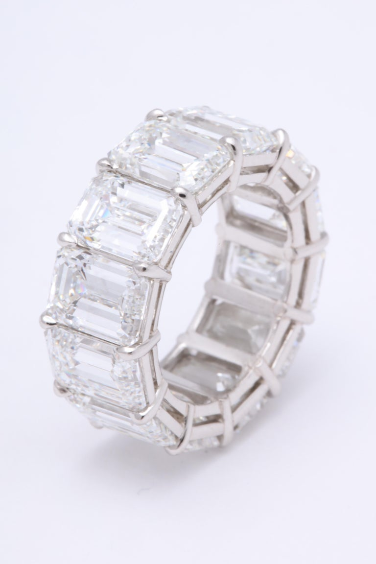 Emerald Cut Diamond Eternity Band GIA Certified 18.51 Carat For Sale 1