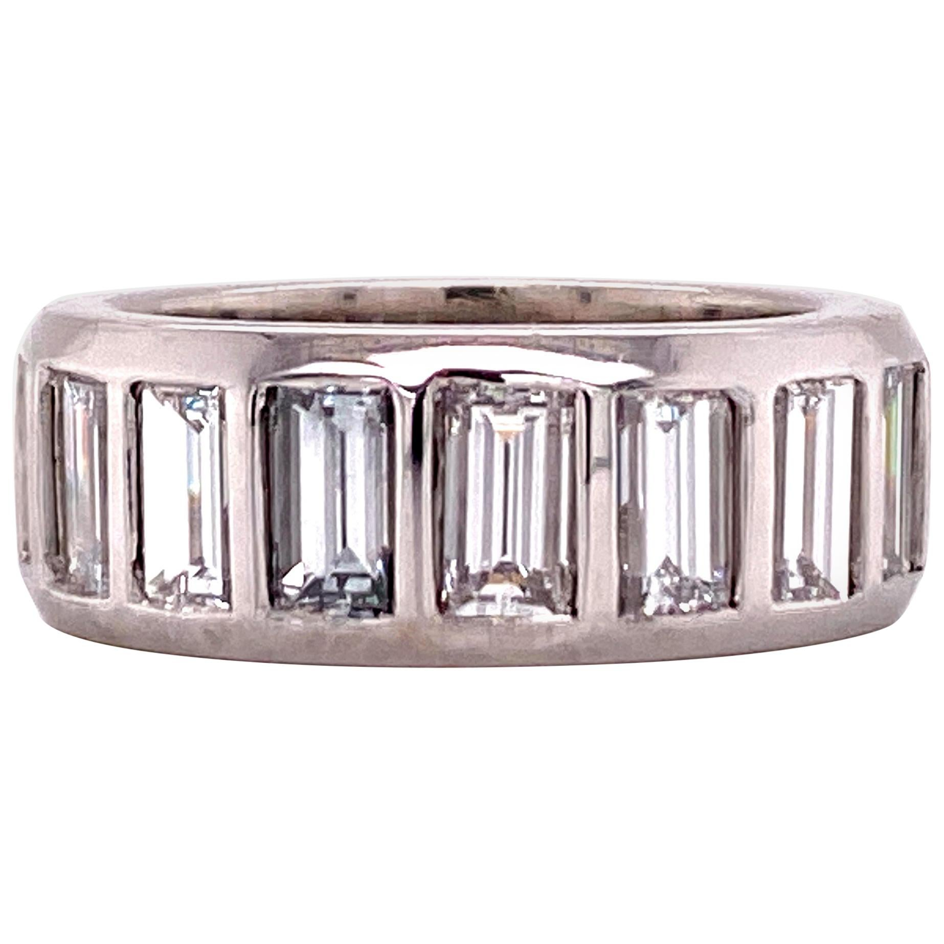 Emerald Cut Diamond Eternity Band Platinum