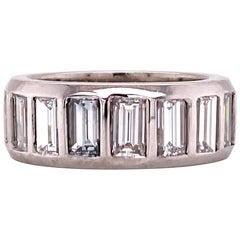 Emerald Cut Diamond Eternity Band Platinum