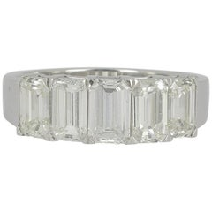 2.71 Carat Emerald Cut Diamond Half Eternity Rings / Band Ring 18K White Gold