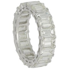 7.10 Carat Emerald Cut White Diamond Eternity Ring / Band Rings / 18K WhiteGold