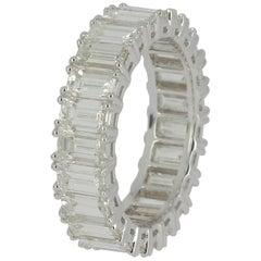 7.91 Carat Emerald Cut White Diamond Eternity Ring / Band Rings/ 18K White Gold