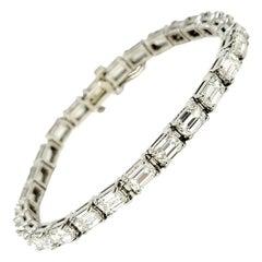 Emerald Cut Diamond Eternity Line Tennis Bracelet in Platinum 14.28 Carats Total
