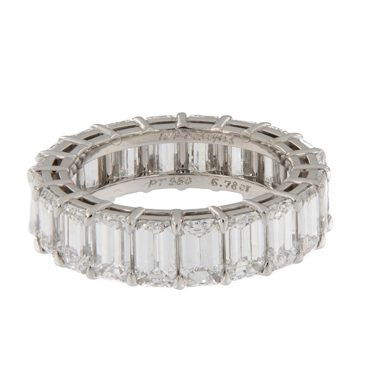 Emerald Cut Diamond Eternity Platinum Ring In New Condition For Sale In Troy, MI