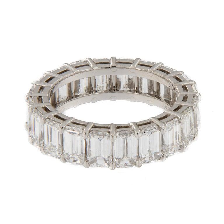 Women's Emerald Cut Diamond Eternity Platinum Ring For Sale
