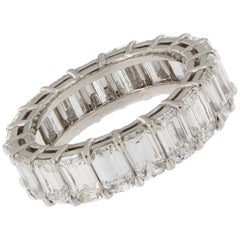 Emerald Cut Diamond Eternity Platinum Ring