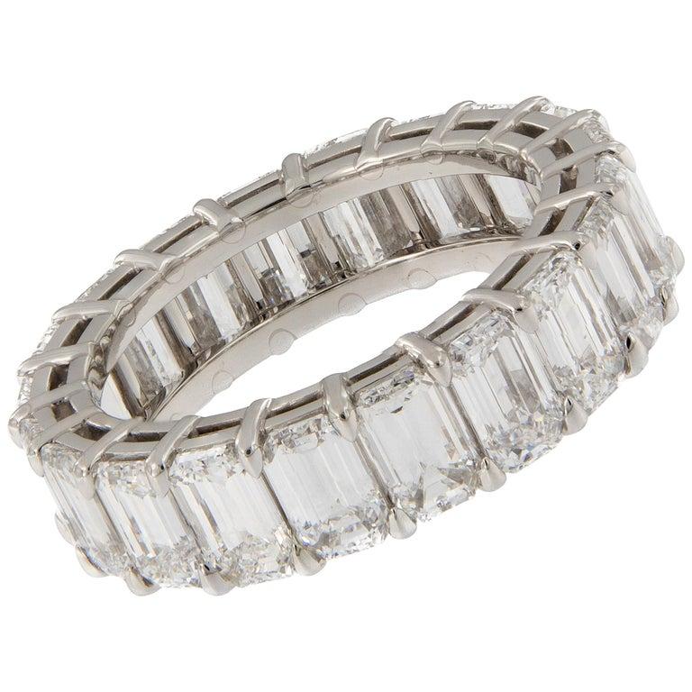 Emerald Cut Diamond Eternity Platinum Ring For Sale