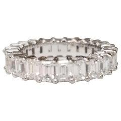 Emerald Cut Diamond Eternity Ring Set in 14 Karat White Gold Weighing 3.45 Carat