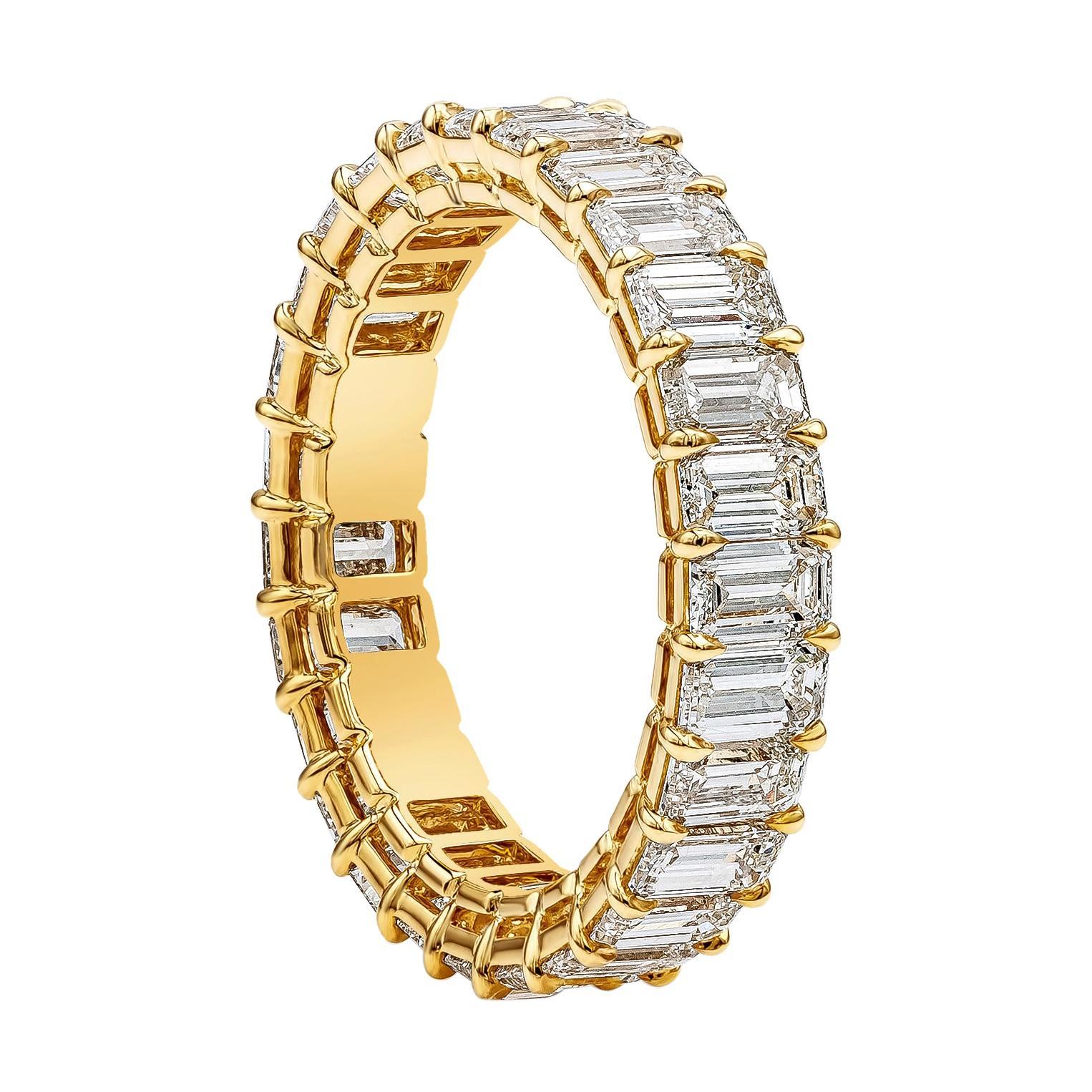Emerald Cut Diamond Eternity Wedding Band, 4.12 Carats