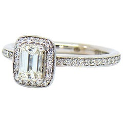 Emerald Cut Diamond Halo Engagement Ring 1.25 Carat J, VS1 with GIA Report