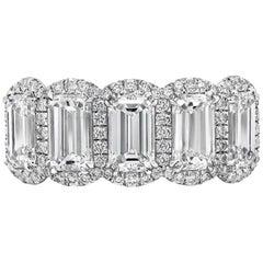 Emerald Cut Diamond Halo Five-Stone Band Ring