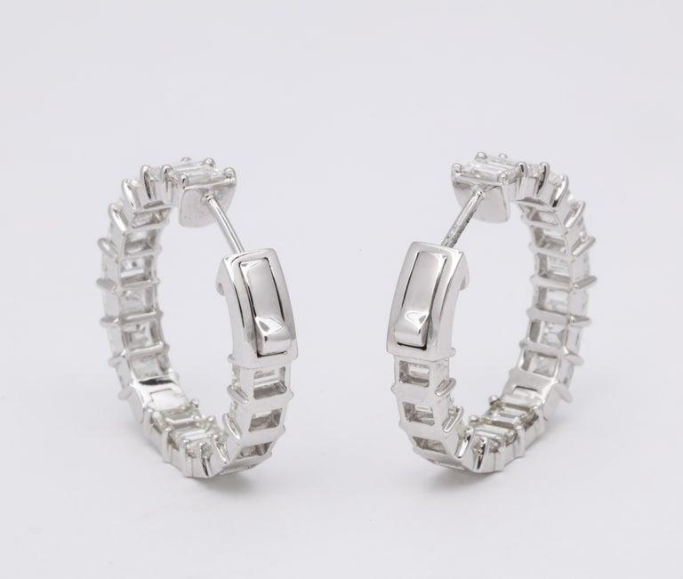 Emerald Cut Diamond Hoop Earrings For Sale 6