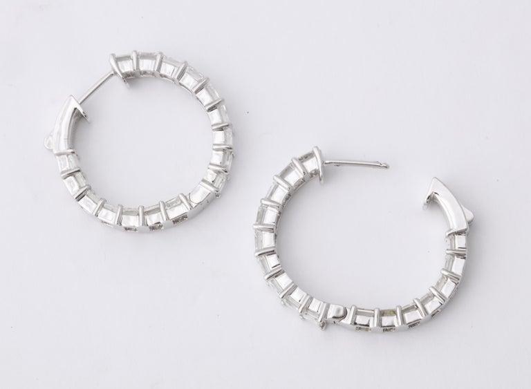 Emerald Cut Diamond Hoop Earrings For Sale 7