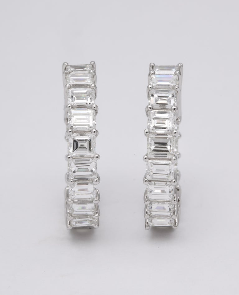 Emerald Cut Diamond Hoop Earrings In New Condition For Sale In New York, NY