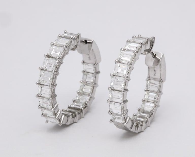 Women's or Men's Emerald Cut Diamond Hoop Earrings For Sale