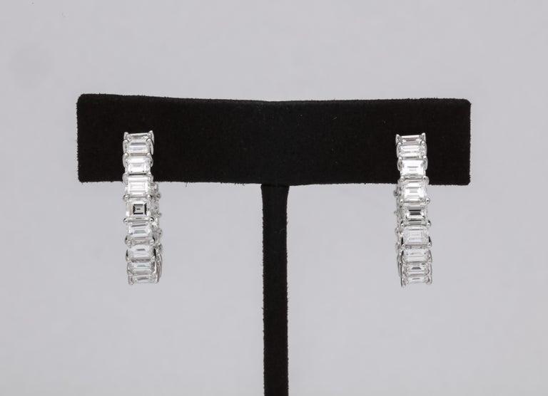 Emerald Cut Diamond Hoop Earrings For Sale 2