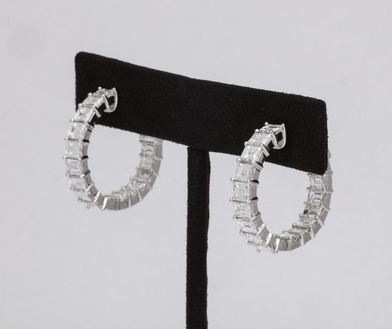 Emerald Cut Diamond Hoop Earrings For Sale 3