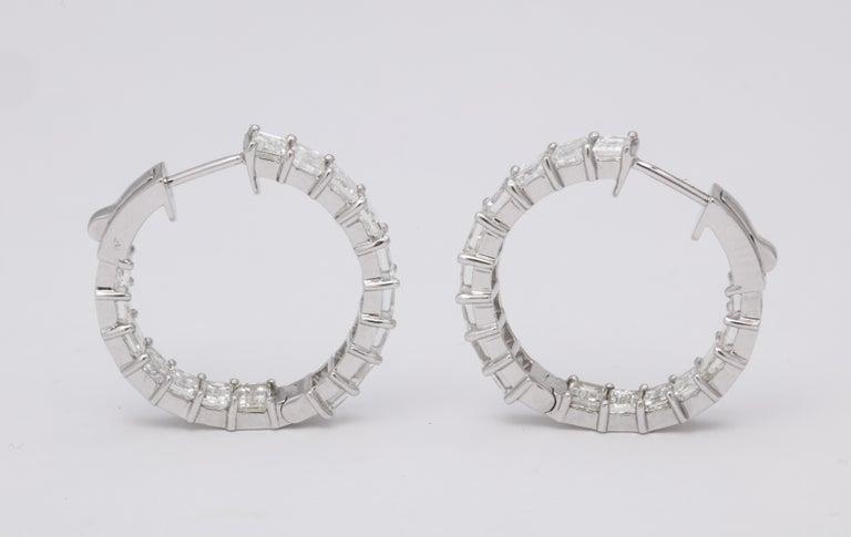 Emerald Cut Diamond Hoop Earrings For Sale 4
