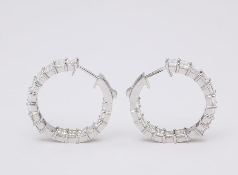 Emerald Cut Diamond Hoop Earrings For Sale 5