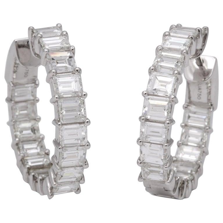 Emerald Cut Diamond Hoop Earrings For Sale