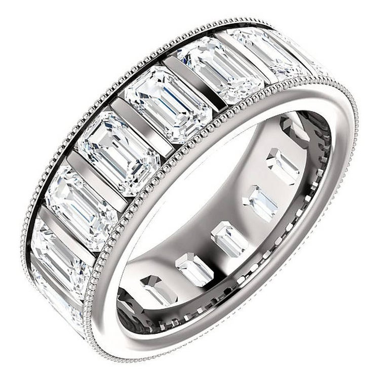 Emerald Cut Diamond Platinum Eternity Band Channel Set