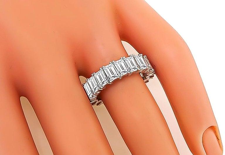Women's or Men's Emerald Cut Diamond Platinum Eternity Wedding Band