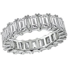 Emerald Cut Diamond Platinum Eternity Wedding Band