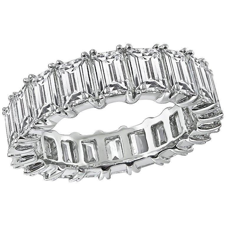 Emerald Cut Diamond Platinum Eternity Wedding Band