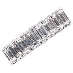 Emerald Cut Diamond Platinum Eternity Wedding Band GIA Certified Diamonds