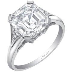Neil Lane Couture Emerald-Cut Diamond, Platinum Ring