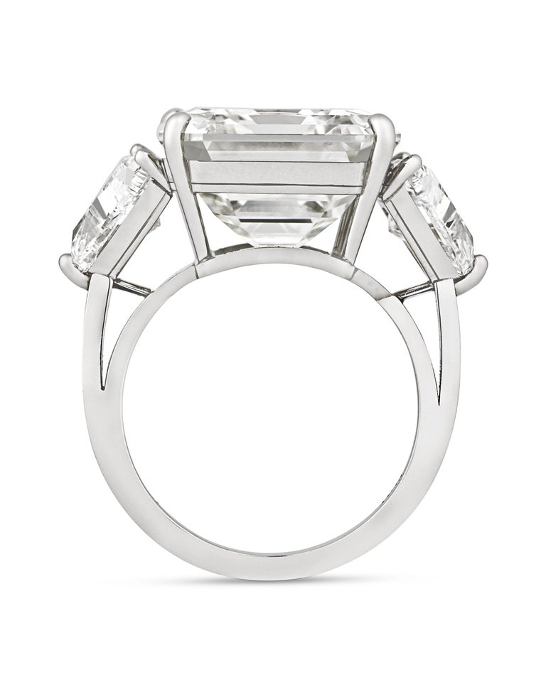 Amazing size and clarity make this diamond ring an exceptional rarity. The captivating 13.16-carat diamond at the ring's center is certified by the Gemological Institute of America as having J color and VS2 clarity, meaning its appearance is
