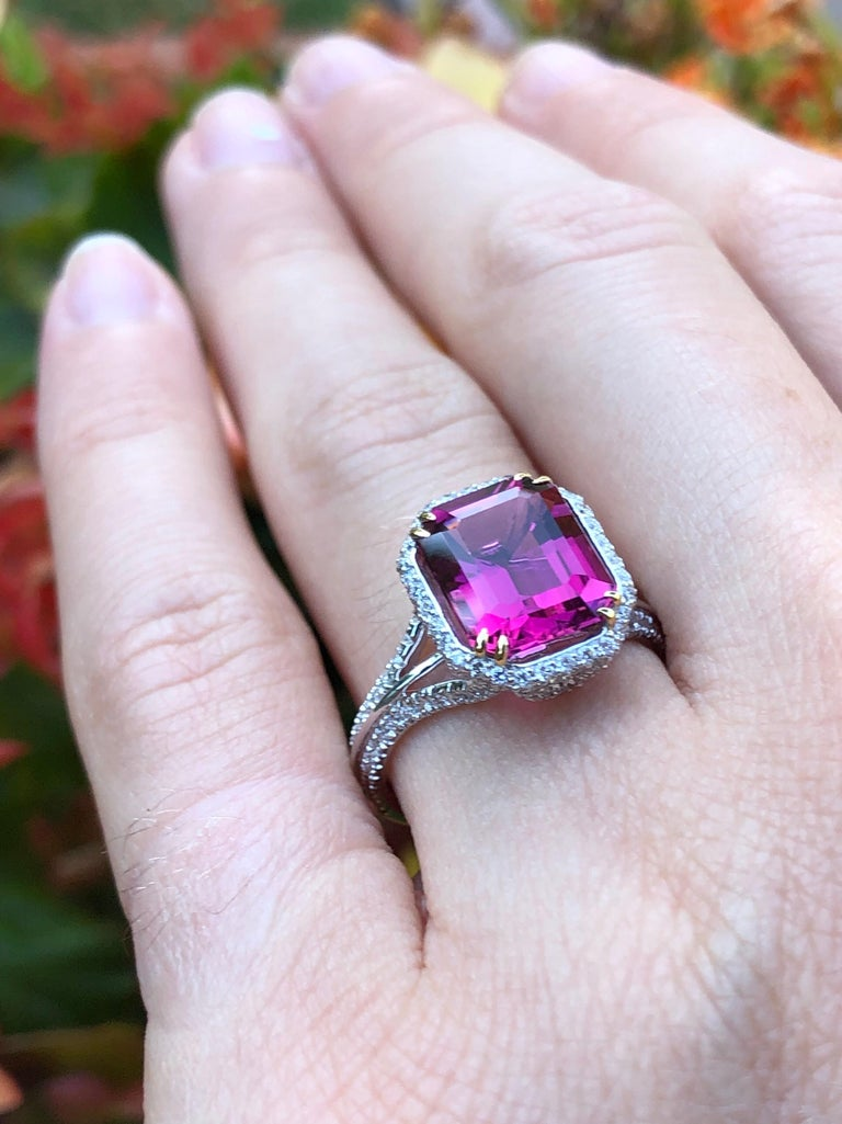 Rubellite Tourmaline Ring Emerald Cut 3.48 Carats In New Condition For Sale In Beverly Hills, CA