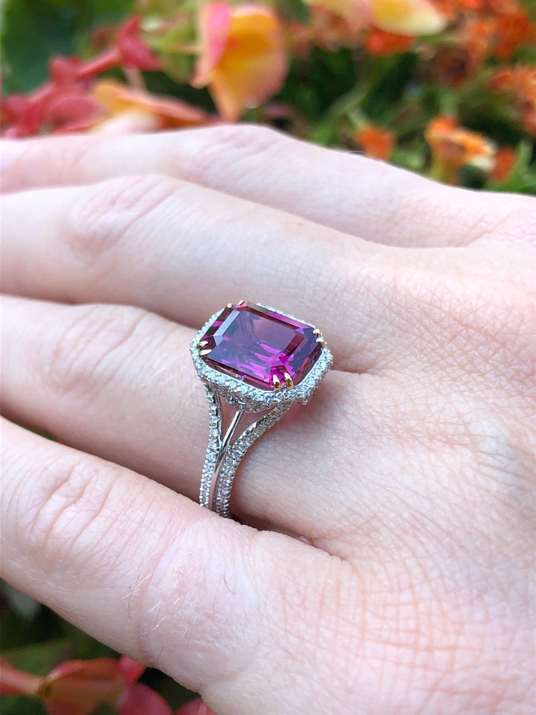 Women's Rubellite Tourmaline Ring Emerald Cut 3.48 Carats For Sale
