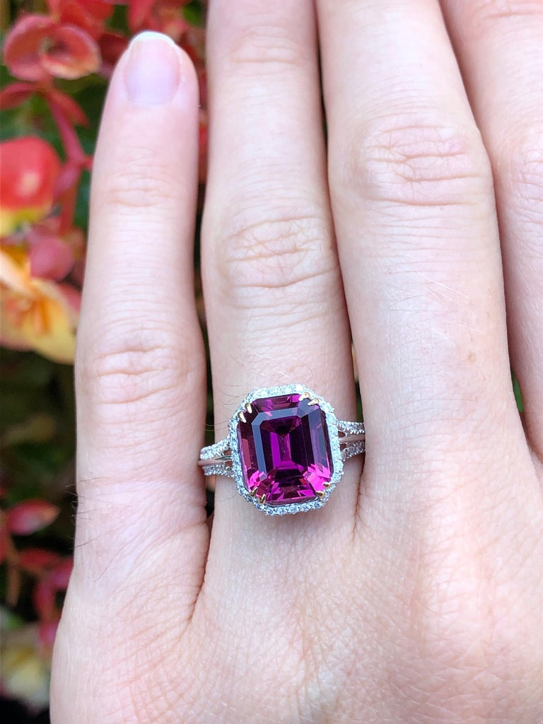 Rubellite Tourmaline Ring Emerald Cut 3.48 Carats For Sale 1