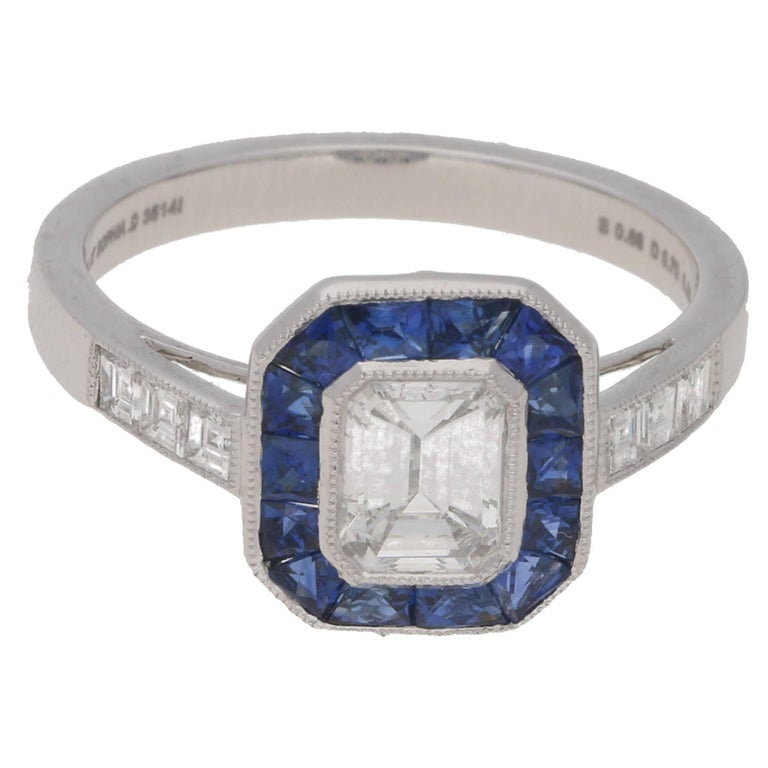 Emerald Cut Diamond Sapphire Deco Style Engagement Ring