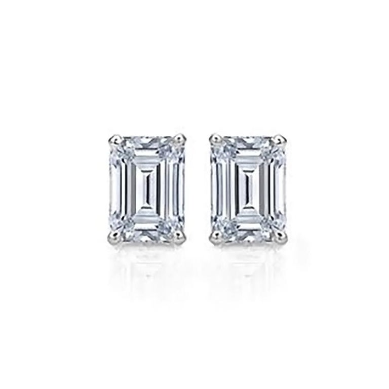 Emerald Cut Diamond Stud Earrings 2 Carat Total In New Condition For Sale In Newport Beach, CA