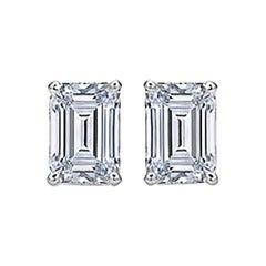Emerald Cut Diamond Stud Earrings 2 Carat Total