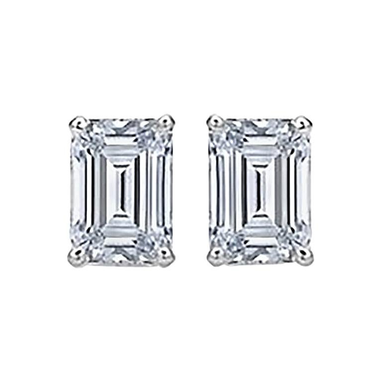 Emerald Cut Diamond Stud Earrings 2 Carat Total For Sale